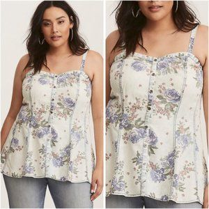Torrid Floral Chambray Button Front Tank 2x
